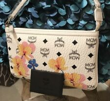 Authentic MCM Luggage White FloralLeather Pouch Clutch Bag Wallet NEW Rare Limit