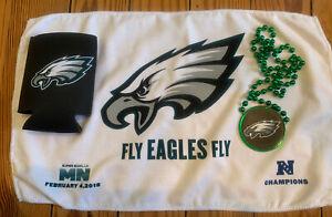 Philadelphia Eagles Super Bowl 52 Bead Necklace Towel Koozie Beer NFL LII