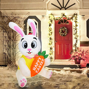 Aufblasbare Osterhase 5Ft beleuchtet Happy Easter Bunny Indoor Holiday YardDekor