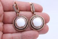 Turkish Jewelry Round White Onyx Black White Topaz 925 Sterling Silver Earrings