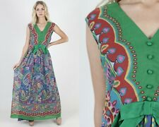 Vintage 60s 70s Bright Floral Dress Green Paisley Cocktail Disco Party Long Maxi
