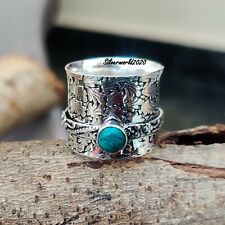 Turquoise Spinner Ring 925 Sterling Silver Plated Handmade Ring Size 7.5 oo73