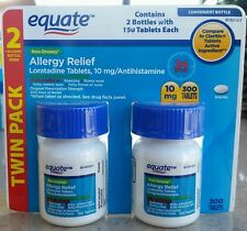 300 Equate Non-Drowsy 24 Hour Allergy Relief Tablets 10mg Loratadine 7/17 (Read)
