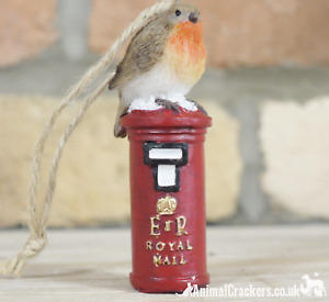 4x ROBIN ON POSTBOX hanging Christmas tree ornaments decoration robin lover gift