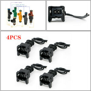4PCS Car Adapter Fuel Injector Extension Cable Wiring Plug Clip EV1 Interface