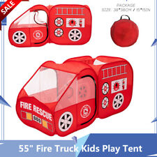 "55"" Fire Truck Kids Play Tent Playhouse Indoor Outdoor Pop Up Play Shade Vehicle"