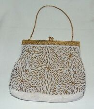 Beaded Purse Gold White Seed Beads Small Wedding Bride Formal