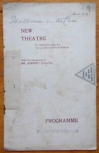 The Woman In The Case programme New Theatre 1909 Violet Vanbrugh Ellis Jeffreys