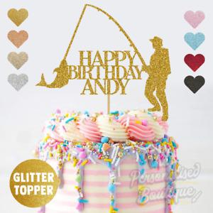 Personalised Custom Glitter Fishing Rod Fish Birthday Cake Topper