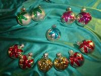 ~ 11 alte Christbaumkugeln Glas silber rot gold Stern Struktur Weihnachtskugeln