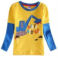 Boys Long Sleeve Digger Top - Age 18 24 2 3 4 5 Yrs Kids Blue Tee Shirt Clothes