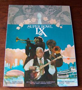 Vintage 1975 SUPER BOWL IX PROGRAM PITTSBURGH STEELERS VS MINNESOTA VIKINGS