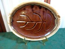 Mid-Century M C P Brown Drip Designed Oval Serving Platter