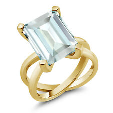 6.64 Ct Octagon Sky Blue Simulated Aquamarine 18K Yellow Gold Plated Silver Ring