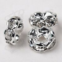 100x Rhinestone Crystal Diamante Clear Rondelle Spacers Beads 4mm 6mm 8mm 10mm