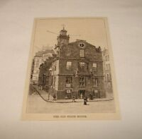 1886 magazine engraving ~ OLD STATE HOUSE, Boston, Massachusetts