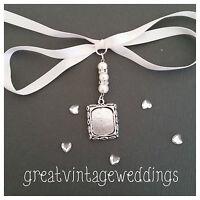 Sunning Bridal Memory Bouquet Charm Oblong Silver  Pendant Locket & Gift Bag