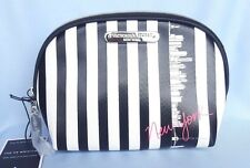 VICTORIA'S SECRET COSMETIC BAG MAKEUP POUCH CASE WHITE BLACK STRIPES NWT
