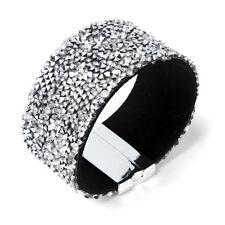 Amrita Singh Silver Tone Mia Crystal Cuff Magnetic Wrap Bracelet BRC 173 NWT