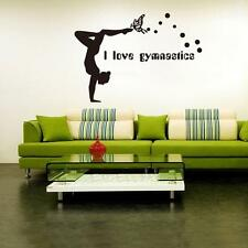 I Love Gymnastics Dancing Butterfly PVC Wall Sticker Girls Livingroom Wall Decor