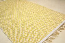 Large 180x245cm Reversible Mustard Ochre Ivory rug  Modern Cotton Diamonds rug
