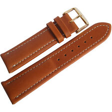 18mm Mens Fluco Chrono Nabucco Smooth Tan Leather GOLD Buckle Watch Band Strap