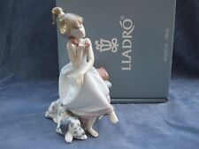 More details for lladro chit chat girl on phone with dog figurine mint