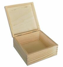 2 x  Plain Wood - Wooden Jewellery Storage Boxes  17 X 17 X 9 cm