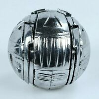 Vintage Silver Gray Ball Sphere Transforms Into Bird Robot Action Figure