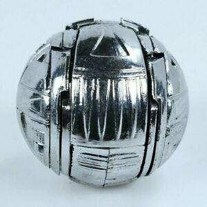 Vintage Silver Gray Ball Sphere Transforms Into Bird Robot Action Figure