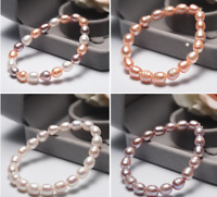 Fashion Women's 7-8MM Natural Freshwater Rice Pearl Stretchy Bracelet 7.5'' AAA