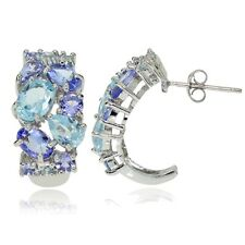 Sterling Silver Tanzanite and Blue Topaz Tonal Cluster Earrings