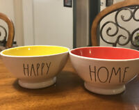 Rae Dunn Magenta Bowl HAPPY Yellow HOME Red New Set Of 2