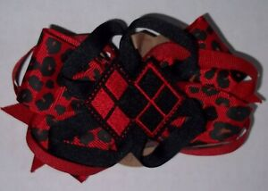 DC Comics Harley Quinn Hand-Made Woman's Hair Bows with Clip -new
