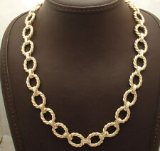 """19"""" Technibond Twisted Wire Oval Chain Necklace 14K Yellow Gold Clad Silver"""
