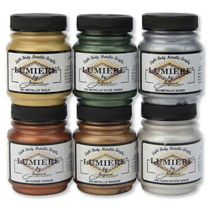 Jacquard LUMIERE Acrylic Paint 2.25oz 70ml 15 Colours Fabric, Canvas, Leather