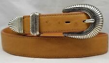 """Genuine OSTRICH BELT 42"""" COGNAC 1.25"""" Smooth w/1"""" Tapered Ends+Silver Buckle Set"""