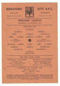 Bradford City Reserves V Kings Lynn 4/1/1958 Midland League