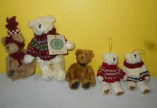 2 Boyds Bear Beary Christmas Plush Teddy Bear Ornaments w/ Gunnar Bear