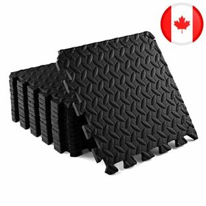 Yes4All Interlocking Foam Mats with Border - Covers 12 & 24 SQ. FT (Black)