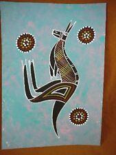 AUS-3 Kangaroo blue pink Australian Native Aboriginal PAINTING Artwork T Morgan