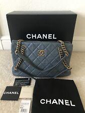 CHANEL Large shopping bag 30 cm soft leather Dark Blue Antiqued Goldtone $2499