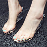 Womens Leopard transparent open toe slippers slip on sandals high wedge shoes