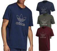 New adidas Originals Mens Outline Trefoil Logo Cotton T-Shirt top S to 2XL