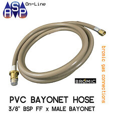 "BROMIC 3M GAS HOSE 3/8"" BSP BAYONET COUPLING FOR OLD RINNAI HEATER AUSTRALIAMAID"