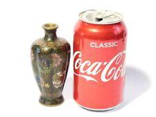 More details for antique miniature cloisonne enamel vase colourful floral & butterfly 4