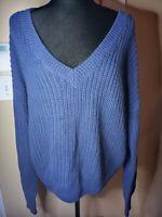 SALE!! Victoria's Secret PINK Long Sleeve Knit V Neck Sweater Blue  Size L NWT