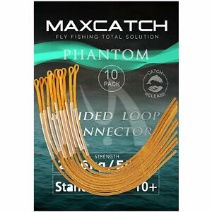 Maxcatch 10pcs Fly Fishing Line Braided Leader Loop Connectors 30LB/50LB
