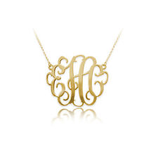1.25 Inch Monogram Necklace in 18k Gold Plated Sterling Silver (USA Seller)