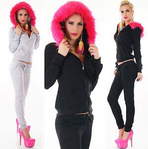 2Pcs Women Tracksuit Hoodie Faux Fur Hood Overall Fitness Tracksuit Siz 8,10,12